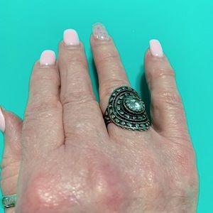 Filigree .925 sterling ring Sz 8